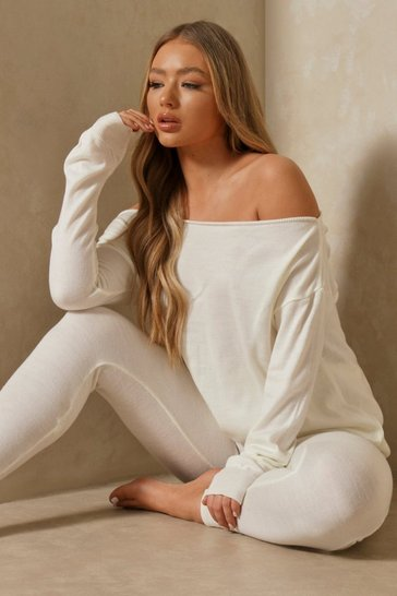 Cream Slash Neck Knitted Two-Piece