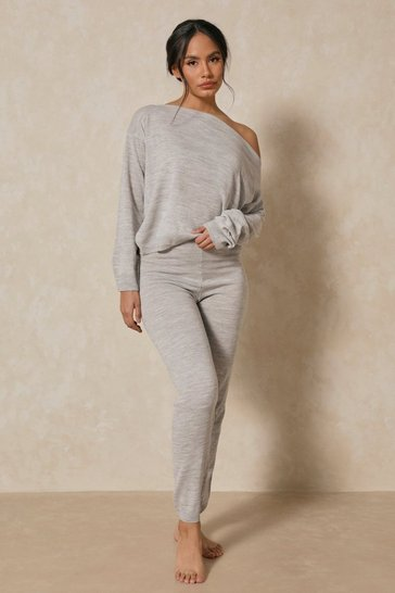 Grey Slash Neck Knitted Two-Piece