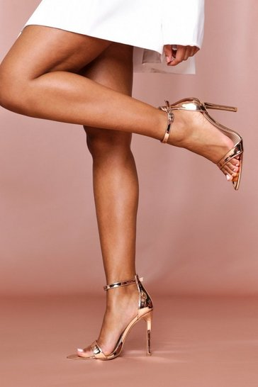 Rose gold strappy pointed highlighted sandals