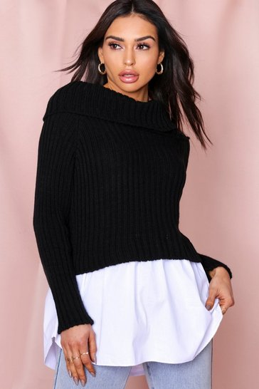 Black Bardot Knitted Shirt Jumper