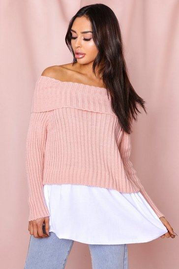 Blush Bardot knitted shirt jumper