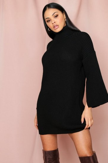 Black Flute Sleeve Roll Neck Jumper Dress