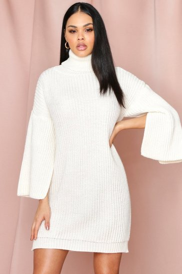 Cream Flute Sleeve Roll Neck Jumper Dress