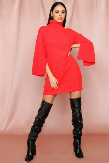 Orange Flute Sleeve Roll Neck Jumper Dress
