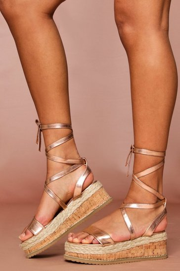 Rose gold PU espadrille lace up flatform sandal