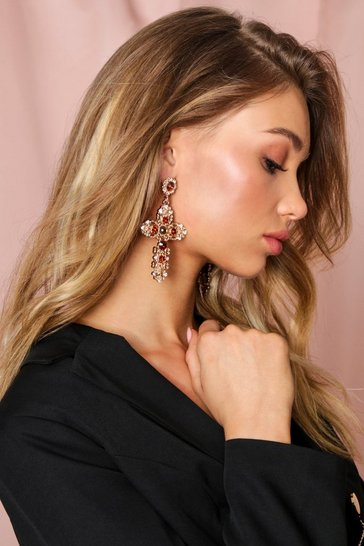 Gold Embellished Drop Cross Earrings