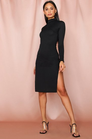 Black Jumbo rib high neck split midi dress