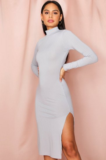 Grey Jumbo Rib High Neck Split Midi Dress