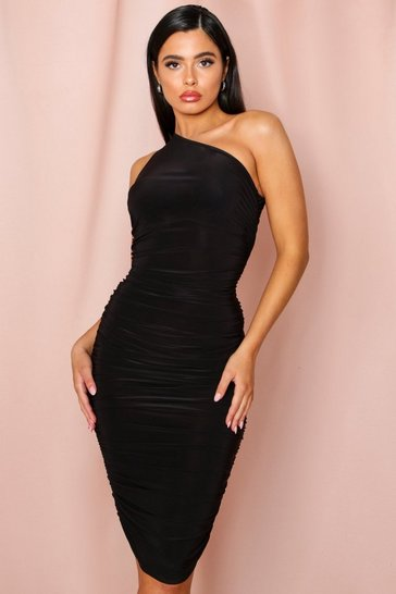 Black slinky ruched one shoulder midi dress