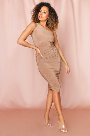 Camel slinky ruched one shoulder midi dress