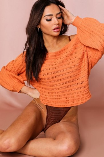 Orange Off The Shoulder Balloon Sleeve Sweater
