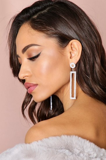 Silver Diamante Rectangle Drop Earrings