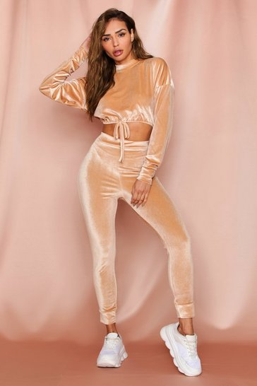 Camel Velour Crop Draw String Lounge Set