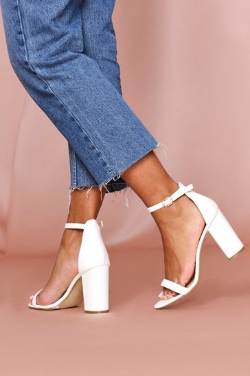 White Strappy Block High Heeled Sandal