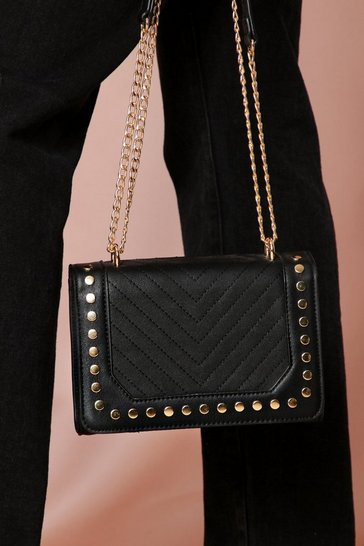 Black quilted detail shoulder bag