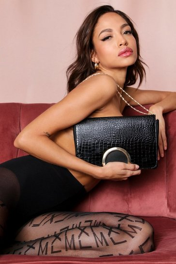 Black croc structured shoulder bag