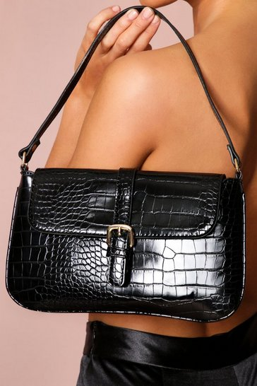Black buckle detail shoulder bag