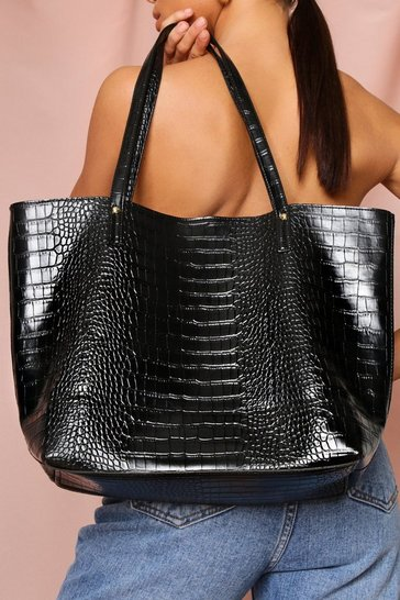 Black oversized croc shopper bag