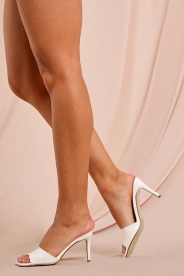 White Quilted Detail Square Toe Mules