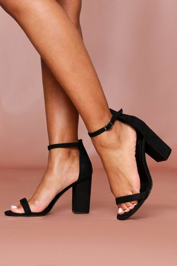 Black Strappy Mid Block High Heeled Sandal