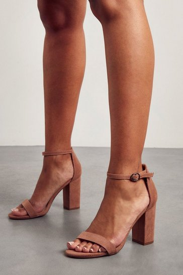 Mocha Strappy Mid Block High Heeled Sandal