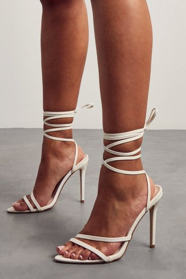 White Strappy Pointed Lace Up High Heels