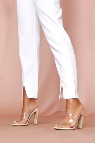 Nude clear strappy flat heel toe post mules