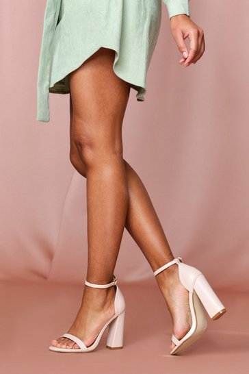 Nude strappy flared block heeled sandal