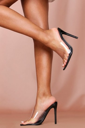 Black clear pointed high heeled mules