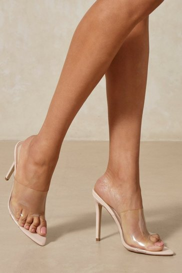 Nude clear pointed high heeled mules