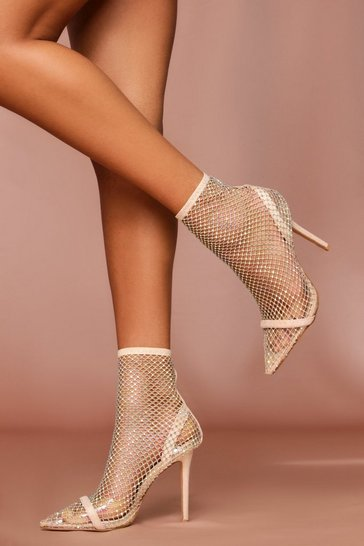 Nude Diamante Fishnet Sock Boots