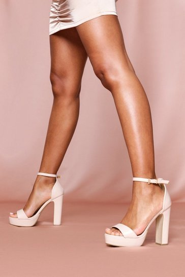 Nude strappy platform block heeled sandals