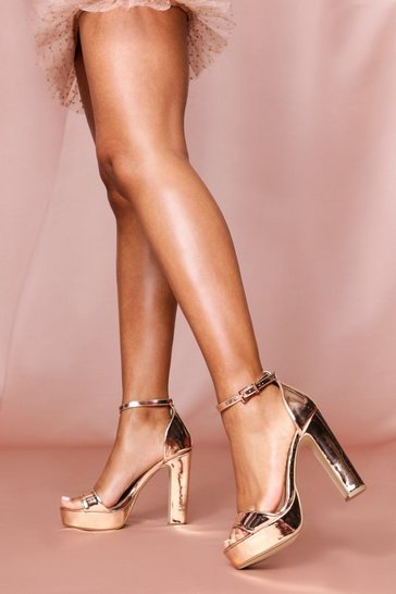 Rose gold strappy platform block heeled sandals