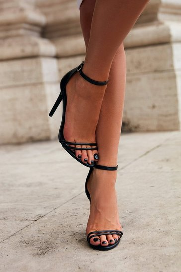Black Strappy detail barely there high heels
