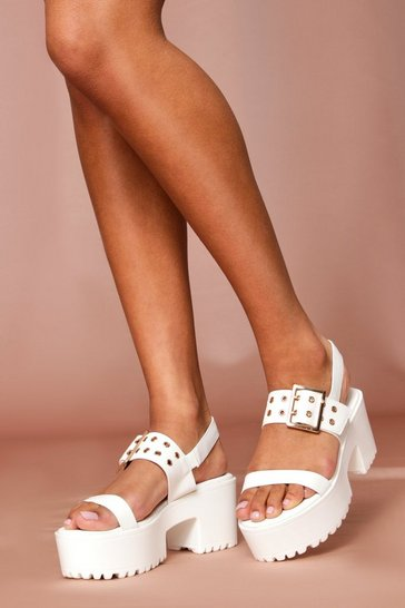 White cleated buckle detail heeled sandal