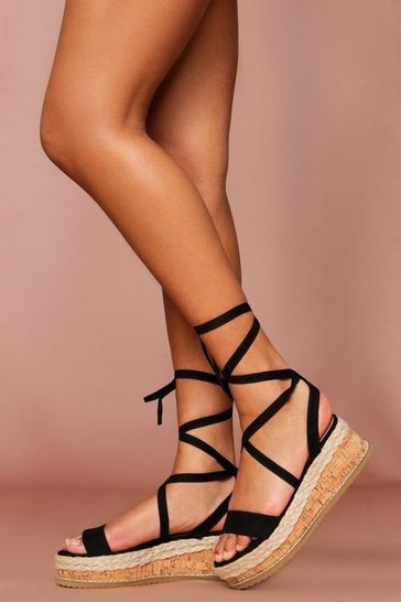 Black suede espadrille lace up flatform sandal