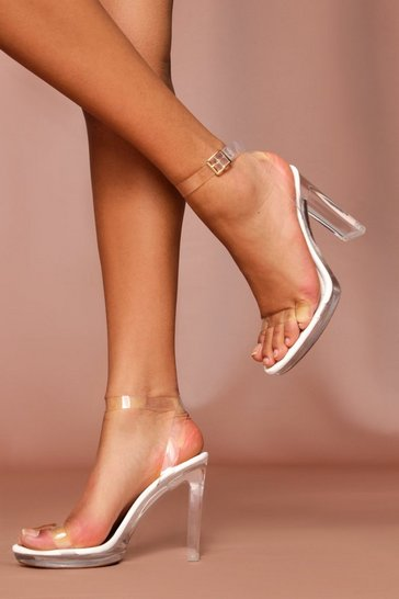 White clear strappy platform heeled sandals