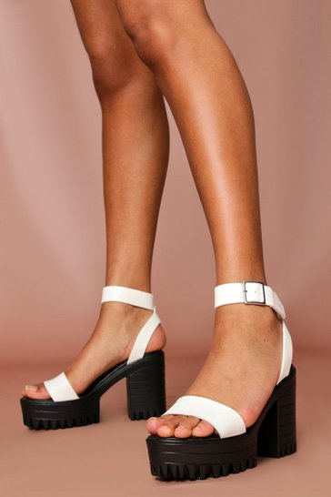 White Cleated Platform Heeled Sandals