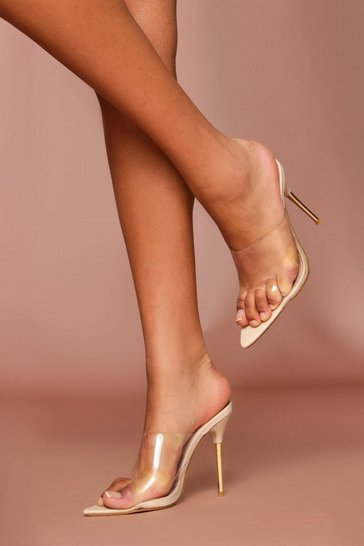 Nude Croc Clear Heeled Mules