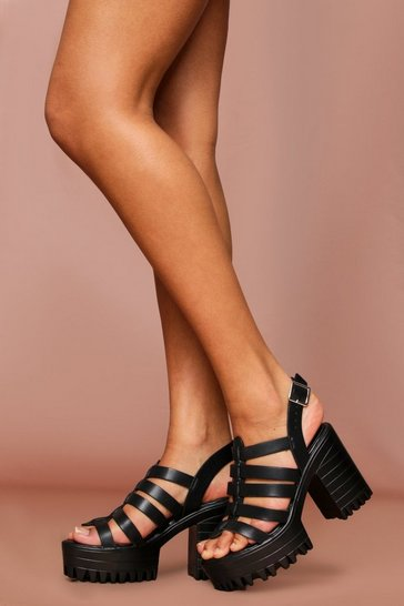 Black Cleated Caged Block Heeled Sandals