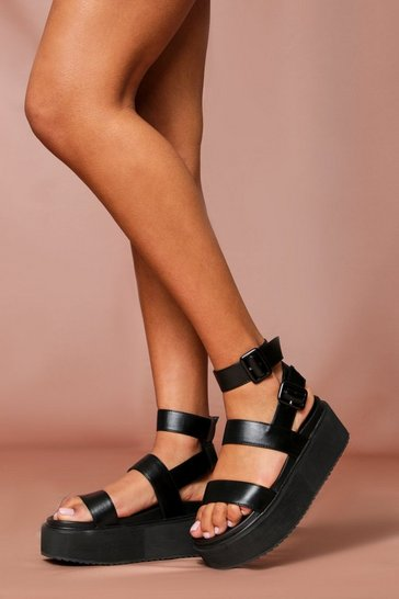 Black buckle detail flatform sandals