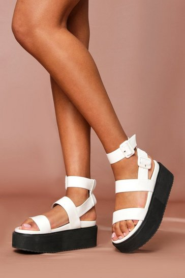 White buckle detail flatform sandals