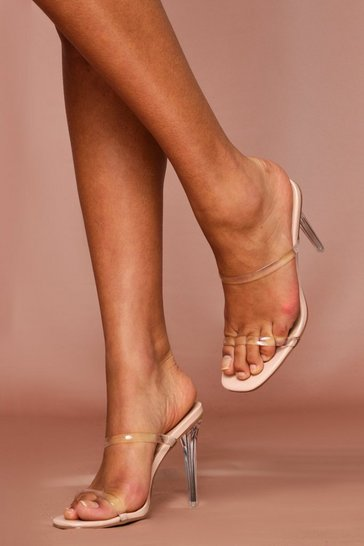 Nude Clear Strap High Heeled Mules
