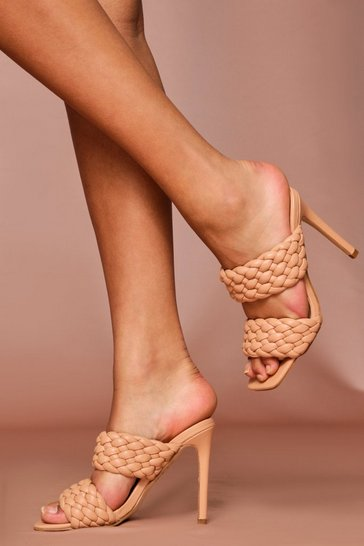 Nude woven detail heeled mules