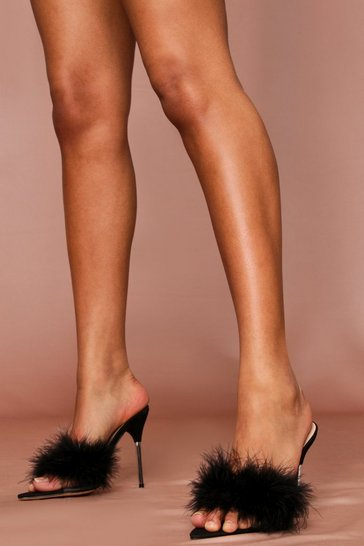 Black faux fur detail heeled mules