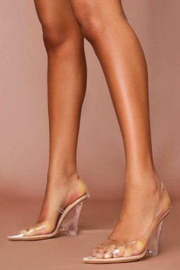 Nude clear wedge high heel