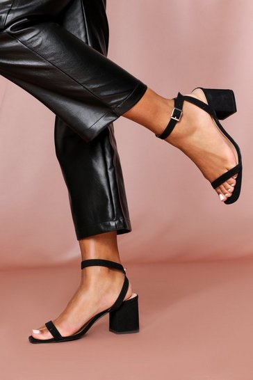 Black SUEDE strappy mid heeled sandal