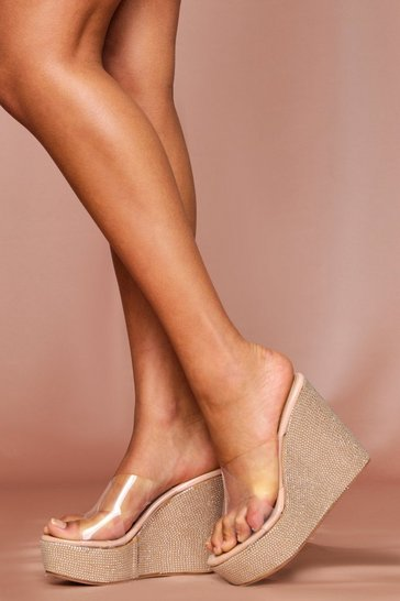 Nude Clear Strap Diamante Heeled Wedges