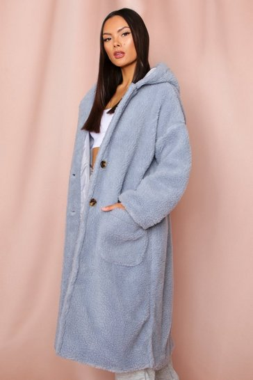 Blue Hooded teddy long line coat