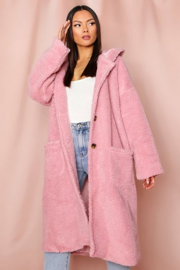 Blush Hooded teddy long line coat